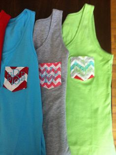 Monogram Pocket Tank Tops on Etsy, $15.50