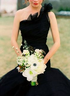 Wedding Ideas: black-bridesmaid-dress-bouquet
