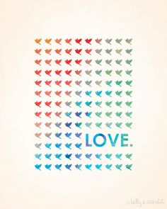 Love Typography 'Love Birds' Digital Art Print - 8x10 Vintage Style Love Birds with Rainbow Watercolor Details - Wedding or Engagement Party. $20.00, via Etsy.