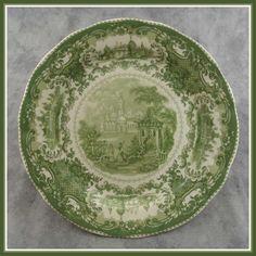 GREEN & CREAM TRANSFERWARE VICTORIAN COUNTRYSIDE CASTLE TOILE PLATE | eBay