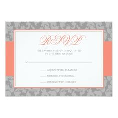 Coral and Gray Damask Swirl Wedding RSVP Card