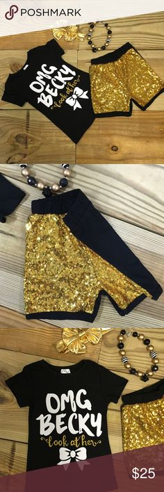 """OMG Becky Look At Her Bow"" Gold Sequin Short Set Our girls black and gold sequin boutique outfit has ""OMG Becky Look At Her Bow"" on the top with black and gold sequin ruffled shorts. The shorts are sequin on the front & cotton fabric on the back. Lined for comfort. OUTFIT ONLY. Accessories are NOT included! Shop our closet for the matching necklace and headband. Perfect for ""back to school"", photo shoots, & everyday wear! Fits TRUE TO SIZE.. 97% Cotton 3% Spandex. Sizes are limited and…"