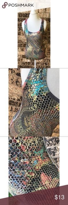 Mermaid Sequined Tank The front is covered in colorful sequins with a solid racer back printed back. Tops Tank Tops
