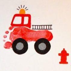 Footprint: 25 original and creative ideas- Empreinte de pied : 25 idées originales et créatives footprint idea - Toddler Art, Toddler Crafts, Toddler Activities, Crafts For Kids, Fireman Crafts, Firefighter Crafts, Daycare Crafts, Baby Crafts, Transportation Crafts