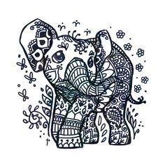 Henna Tattoo Elephant Art Print by Ravenno Henna Elephant Tattoos, Elephant Tattoo Design, Elephant Design, Elephant Art, Baby Elephant, Elephant Pattern, Elephant Drawing Pictures, Elephant Drawings, Henna Animals