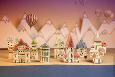 Купить Керамическая брошь Любимые города - город, дом, Башня, Керамика, керамика ручной работы