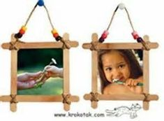 Popsicle Stick Frames from the kids Vbs Crafts, Popsicle Stick Crafts, Camping Crafts, Popsicle Sticks, Craft Stick Crafts, Diy And Crafts, Crafts For Kids, Craft Sticks, Lolly Stick Craft