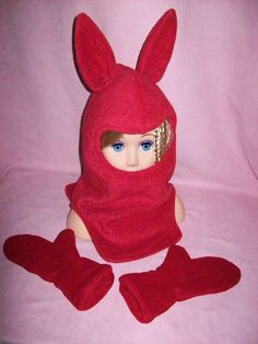 Animal Balaclava with Mittens, both double layers polar polyester fleece anti-pill.  Red. $35.00  Pin NOW, View Latter.