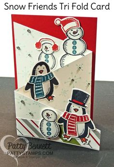 Snowman and Penguin tri fold card featuring Stampin' UP! Snow Friends and Snow Place set and framelit bundle. Holiday / Christmas card by Patty Bennett