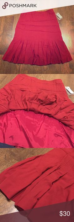 Juliana Collezione Skirt- new! Juliana Collezione Crepe Skirt. Color - scarlet. Size 8. 67% viscose, 30% wool, 3% elastic. 24 inches. Side zipper. Never worn Juliana Collezione Skirts