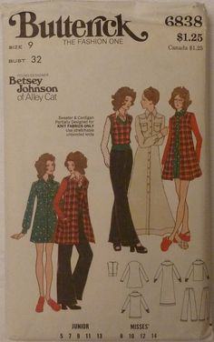 Butterick 6838 Vintage Betsey Johnson Junior & by yardageetc