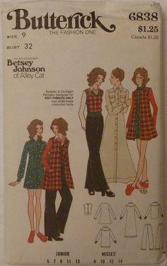 Butterick 6838 Vintage Betsey Johnson Junior & by yardageetc