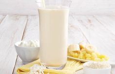Piña Colada Protein Shake 1 cup low-fat cottage cheese 1 cup crushed pineapple, drained ½ banana ½ cup coconut milk or coconut soy milk ½ scoop vanilla whey protein powder 1 cup ice cubes