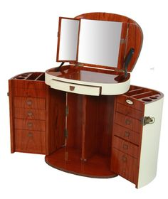 Marie Galante Makeup Trunk / dressing table with mirror. Ivory