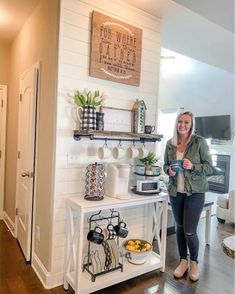 Coffee Bar Station, Home Coffee Stations, Tea Station, Coffee Bars In Kitchen, Coffee Bar Home, Coffee Bar Ideas, Coffe Bar, Accent Wall In Kitchen, Shiplap In Kitchen