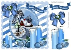pretty blue candles with bow and cottage with snow 8x8 on Craftsuprint - View Now!