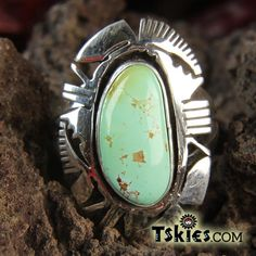 Green Turquoise Silver Filework Navajo Sterling Silver Ring by Eddie Secatero - Turquoise Skies