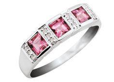 10K White Gold Genuine Pink Tourmaline & Diamond Ring | Charm Diamond Centres