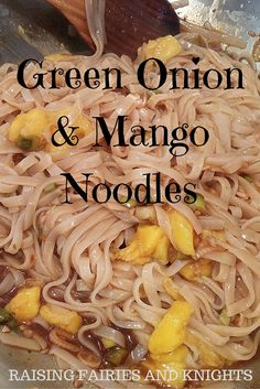 Green Onion & Mango Noodles - A yummy combination of green onions, mango, noodles, and sweet chili sauce, optional fried tofu is a great addition for a simple yet delicious dinner!