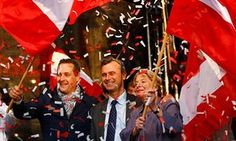 Left to right: Freedom party leader Heinz-Christian Strache, candidate Norbert Hofer and party member Ursula Stenzel attend Hofer's final rally in Vienna on 20 May.
