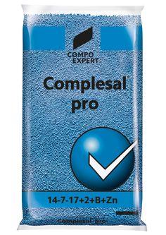 Complesal Pro Σύνθεση: 14-7-17 + 2MgΟ+8S+B,Zn  Ιδανικό για κάθε καλλιέργεια με αυξημένες απαιτήσεις σε όλα τα στοιχεία και ειδικότερα στο κάλιο.      Συσκευασίες: σάκοι των 25 κιλών.