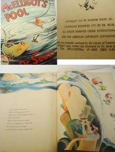 """___ Dr Seuss Fishing McElligott's Pool Comic Art Illustrative Children Book 1975 Old___  Hi there...... 1975 original comic art published by Random House...Dr Seuss  McElligott's Pool  Wonderful early learn to read book or for bedtime reading  Measures 8"""" x 12""""  There is a small tear on the right side of the front cover"""