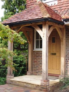 Contemporary or traditional, a porch adds character to a house as well as being shelter from the elements and a place to store your muddy wellies. Here are just a few examples of some or our porches. No obligation quote information to Steve Huxley. Oak Front Door, Front Door Porch, House Front, Porch Oak, Brick Porch, French Country House, Country Homes, Beam Structure, Oak Framed Buildings
