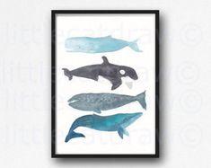 Wale Aquarell Whale Kunstdruck Whale Stack-Aquarell Wandkunst Illustration Kunstdruck von Walen Druck auf KUNSTDRUCKPAPIER ungerahmt