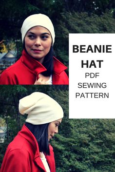 Beanie Hat Free Sewing Pattern: Learn how to make a beanie hat with a step by step sewing tutorial and free printable sewing pattern.