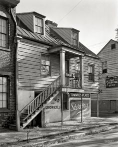 "Chatham County, Georgia, circa 1937. ""38 Price Street, Savannah. Structure dates from ca. 1840."" 8x10 negative by Frances Benjamin Johnston"
