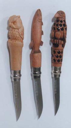 Voici quelques réalisations de sculpture sur couteaux OPINEL par Ronan PONDAVEN