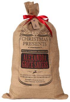 Personalized Santa sack, Christmas stocking with decorative border design by HessianandBurlap on Etsy https://www.etsy.com/listing/209867352/personalized-santa-sack-christmas