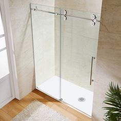 VIGO Elan 56 to 60 in. x 74 in. Frameless Sliding Shower Door in Stainless Steel with Clear Glass and Handle Vigo 60 in. x 74 in. Frameless Bypass Shower Door in Stainless Steel with Clear – The Home Depot Vigo Shower Doors, Shower Door Hardware, Frameless Sliding Shower Doors, Shower Panels, Modern Bathroom, Bathroom Ideas, Bathroom Tubs, Rental Bathroom, Bronze Bathroom