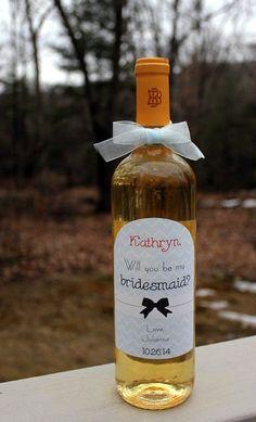 bridesmaid wedding invitation wine bottle
