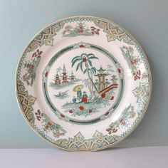 Antique Plates Antique China Dinner Plates Pagoda by AnnataStyle