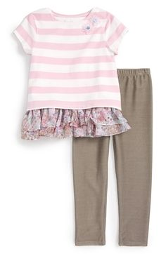 Pippa & Julie Stripe Ruffle Top & Leggings (Toddler Girls, Little Girls) available at #Nordstrom