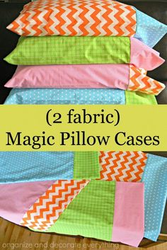 Magic Pillowcase Tutorial : 2 fabric magic pillow cases are easy to make and co. Magic Pillowcase Tutorial : 2 fabric magic pillow cases are easy to make and coordinate with any decor Easy Sewing Projects, Sewing Projects For Beginners, Sewing Hacks, Sewing Tutorials, Sewing Crafts, Sewing Tips, Diy Projects, Sewing Ideas, Tutorial Sewing