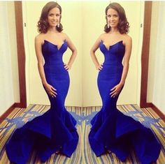 Shevny Royal Blue Sweetheart Satin Prom Dress Long Train Mermaid Formal Evening Gowns 2017