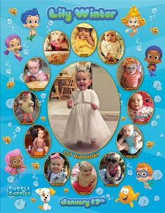 Bubble Guppies Monthly Collage   The best way to remember your child's first year is to make a photo collage of their monthly photos. This is the perfect memory to share with your family & friends on your child's special first birthday!  I also offer CUSTOM collages with ANY THEMES at all!  Quick turn around time and I guarantee you will LOVE IT!  Copyright © 2015 All rights reserved Anna Roze Design