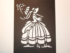 Hand Cut Silhouette Fine Lady by BackWoodsMiniatures on Etsy, $18.00