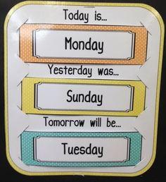 Calendar combo (weather, days of the week, and. by Stumbling Through Second Preschool Charts, Free Kindergarten Worksheets, Homeschool Kindergarten, Classroom Layout, Classroom Organisation, 2nd Grade Classroom, Autism Activities, Toddler Learning Activities, Kids Learning