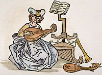0065348 © GrangerSAPPHO (fl. c600 B.C.).  Greek lyric poet. With musical instruments: woodcut from an edition of Boccaccio's 'De Claris Mulieribus' [On Famous Women] printed at Ulm, 1473.