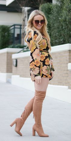70's Floral Romper and Beige Boots