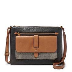 Fossil Kinley Neutral Multi Leather Snap Closure Medium Crossbody/Shoulder Bag #Doris_Daily_Deals #Bonanza