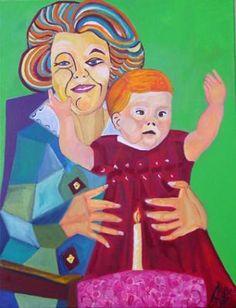 Schilderij Beatrix en Amalia van Annelies van Biesbergen, 73 x 103 cm