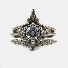 Items similar to Temple of the Stargazer - Moon and Star Engagement Ring Set - Diamonds or Forever One Moissanite on Etsy Engagement Ring Settings, Solitaire Engagement, Vintage Engagement Rings, Jewelry Rings, Jewelery, Unique Jewelry, Etsy Jewelry, Jewelry Box, Diamond Wedding Bands