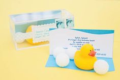 """Rubber duck party invitations - put styrofoam """"bubbles,"""" a tiny rubber duck and a piece of paper shaped like a wave with all the party details in a clear box"""