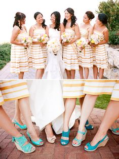 If you add sleeves and do coral stripes with the blue shoes. Would be really cute. I could make these. Ocean view wedding at Terranea Resort, photo by Picotte Photography