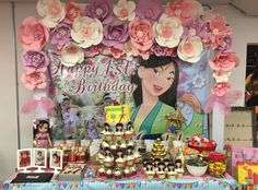 mulan party, first birthday, cherry blossoms, mulan cake