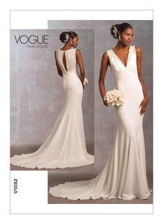 Items Similar To Sleeveless V Neck Bridal Gown With Train Vogue Original Size Bust Sewing Pattern 1032 On Etsy
